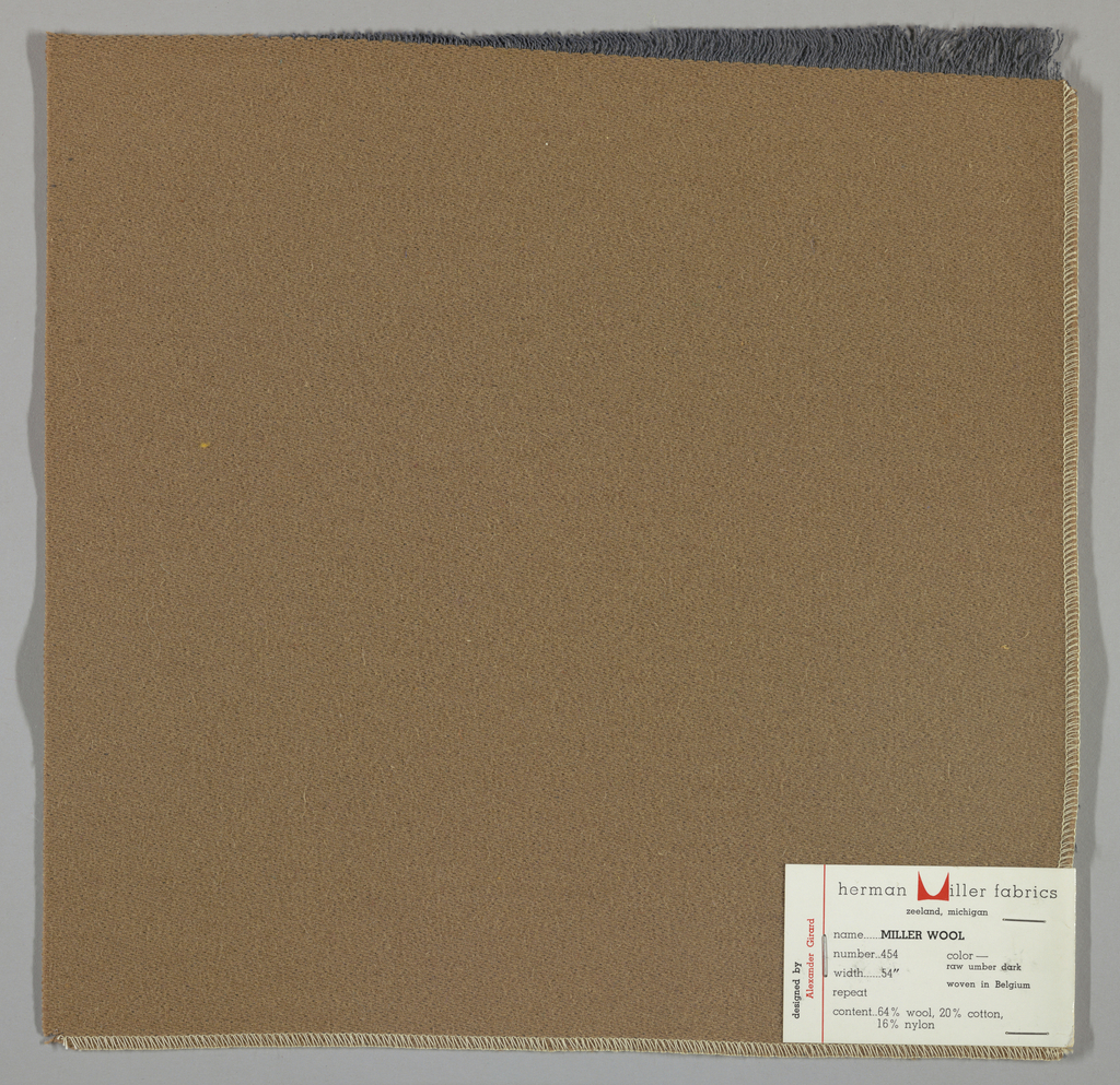 Weft-faced twill weave in light brown. Number 454.