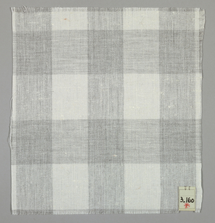 Plain weave plaid in white and grey.