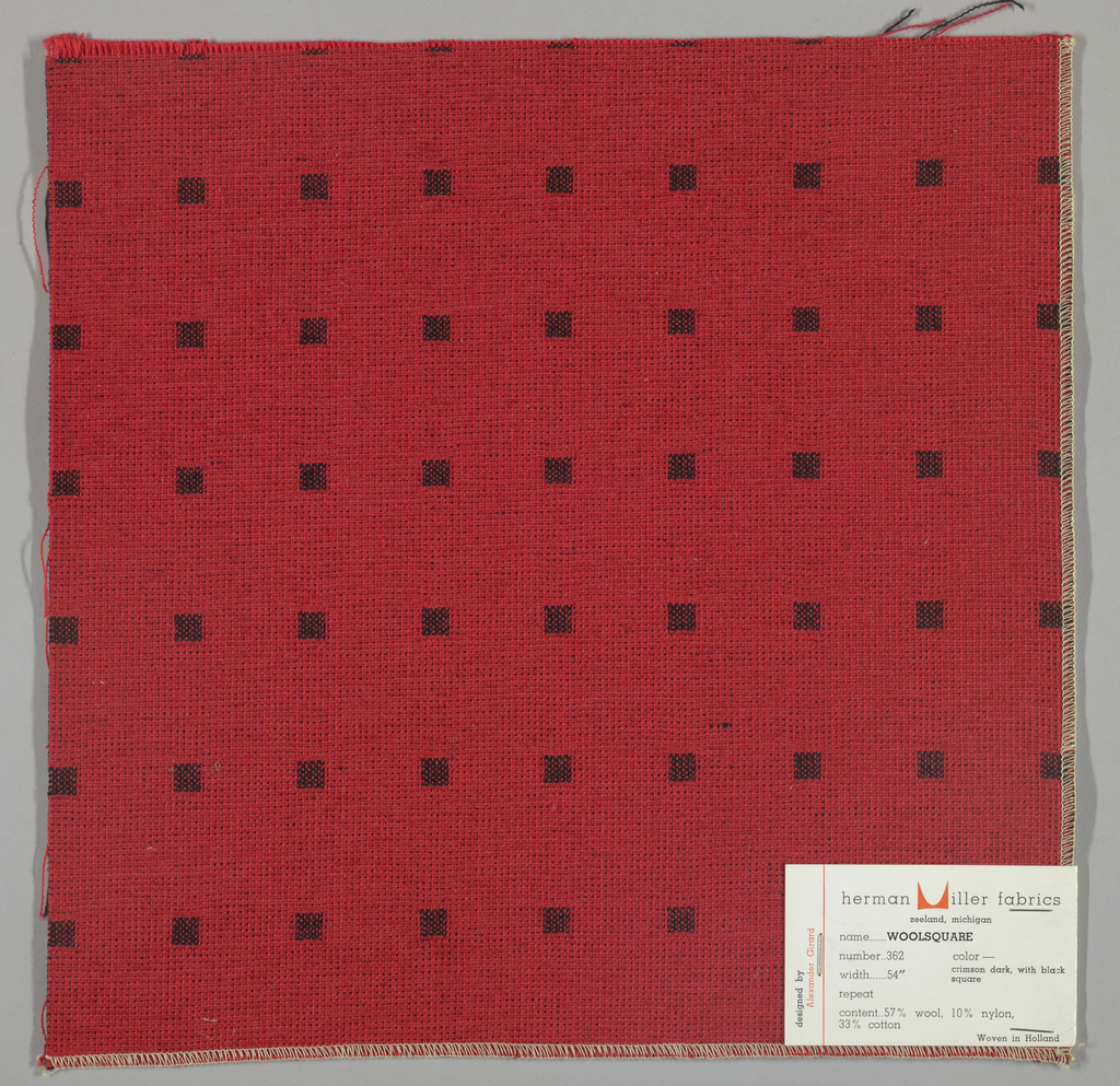 Doublecloth with a red ground and black squares. Number 362.