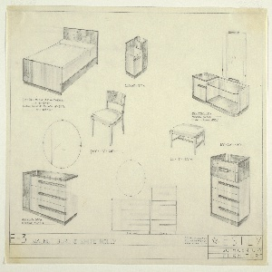 Designs for a twin bed, endtable, vanity with mirror, chair, stool, low dresser with mirror, high dresser, with diagram of two dressers and mirror together at lower center.