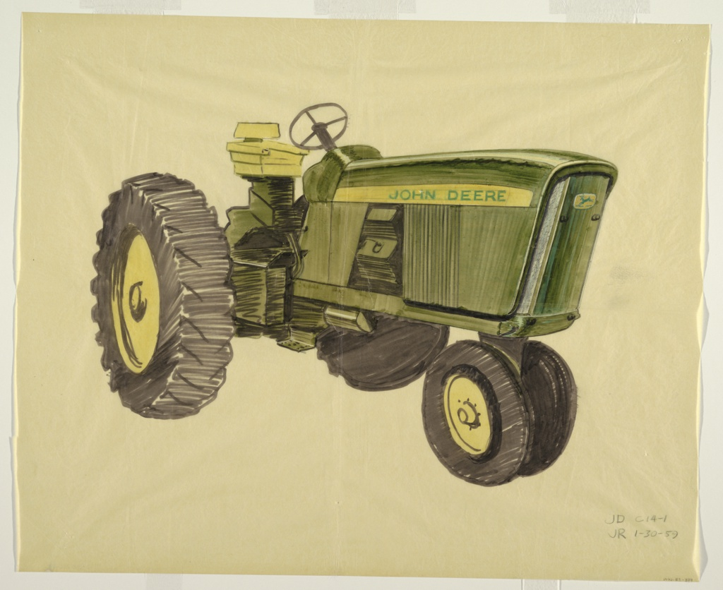 "Design for a green John Deere tractor, a vehicle intended for agricultural, farming, or construction purposes, facing left to highlight front and side screens. Features yellow and black tires, a yellow seat, a yellow horizontal strip across the side with the words ""JOHN DEERE"" in green, and the green and yellow leaping deer company logo on the front."