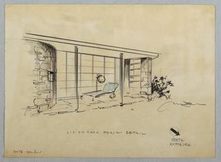 "Drawing, Living Room Porch ; ""Livi"