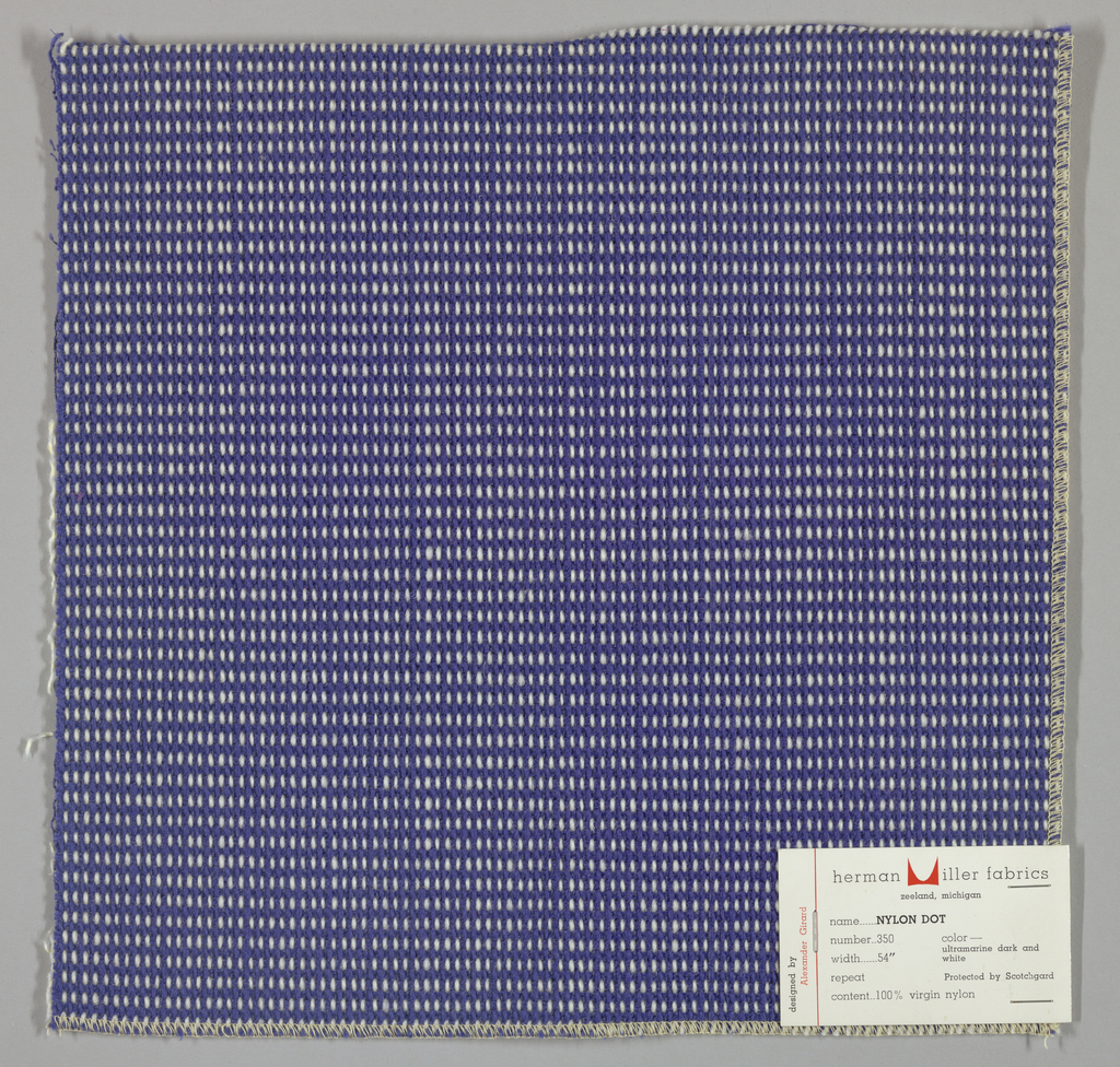 """Plain weave in blue and white with every third weft doubled. Warp contains supplementary binding warps. White warp yarns create """"dot"""" effect. Number 350."""