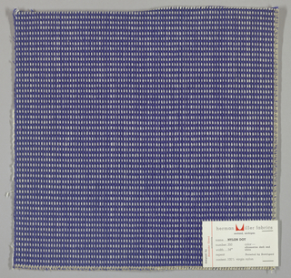"Plain weave in blue and white with every third weft doubled. Warp contains supplementary binding warps. White warp yarns create ""dot"" effect. Number 350."