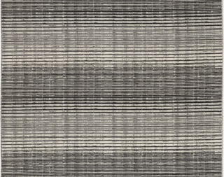 Upholstery fabric with irregular horizontal stripes of black, white and silver yarns in varied textures, giving a topographic effect.