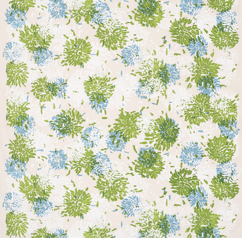 Length of off-white cotton canvas screen-printed with painterly clusters of chrysanthemums in green, blue and white.