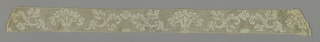 Valenciennes type of cap lace. Detached leaf and scroll motifs.