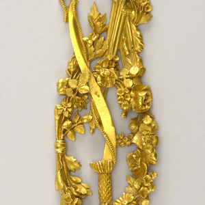 Quiver of arrows, torch with flame crossed with arrows, and sword sheath in garland of flowers