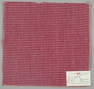 "Plain weave in magenta and white with every third weft doubled. Warp contains supplementary binding warps. White warp yarns create ""dot"" effect. Number 355."