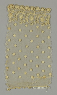 Imitation Alençon lace has design of small five-petaled flowers sprinkled on field above a border of curving leaves and flowers and five-petaled flowers within circles.