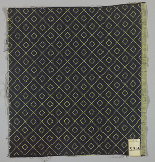 Double cloth in black with a yellow double-diamond line pattern.