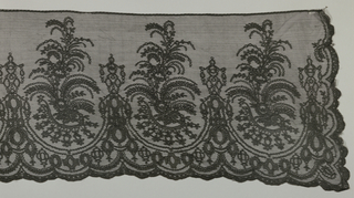 Black lace rectangle showing a horizontal repeat of swags enclosing a tall floral form. These motifs are densely filled and outlined with several strands of black silk against an open net ground. Bottom edge and two sides are scalloped.