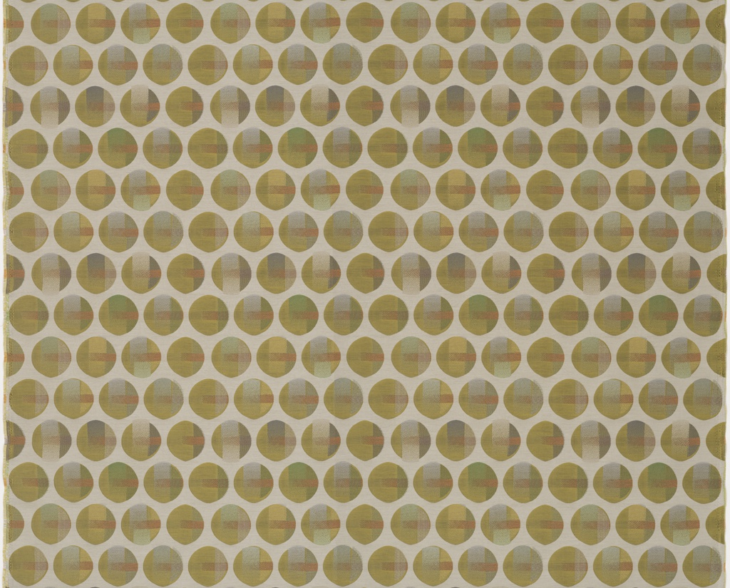 Length of woven fabric with a pattern of off-set, irregular circles interrupted by perforated bands of color.