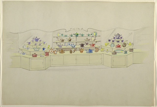Drawing, Chinaware display with si