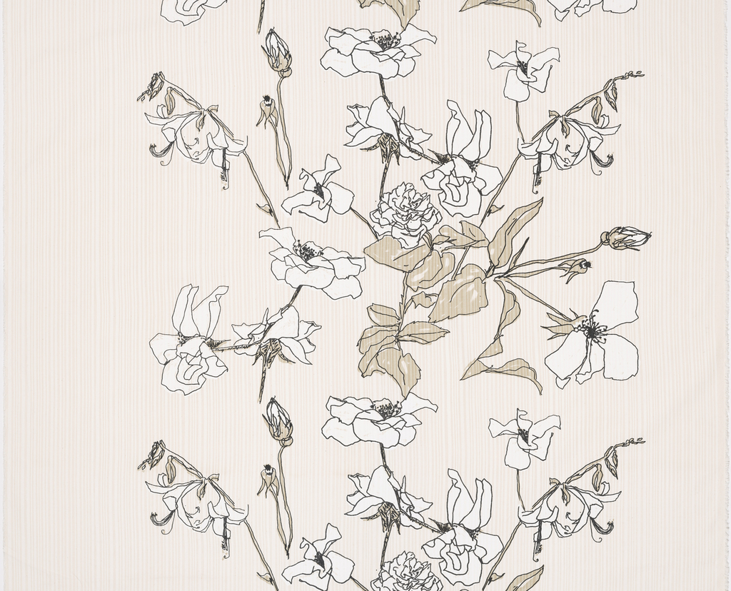 Length of off-white cotton canvas with hand-pulled stripe in the background, overprinted  with loosely-drawn flowers with taupe leaves and white blooms, outlined in black.