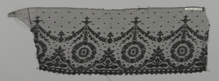 Chantilly-type edging lace with a pattern of pendant medallions joined by swags above a border of conventionalized forms.