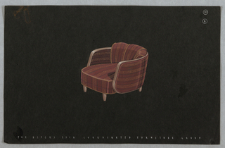 Drawing, chair, armchair with red