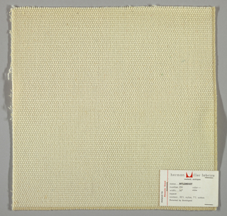 Plain weave in white with every third weft doubled. Warp contains supplementary binding warps. Number 356.