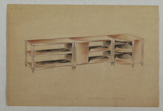 Drawing, 7/9. Three-piece shelving