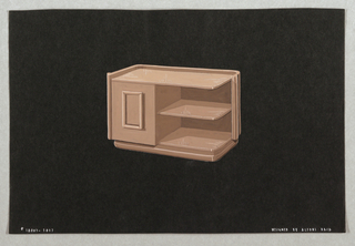 Drawing, 3017. Cabinet and shelvin