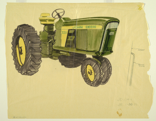Detailed sketch of John Deere tractor with view of front and side screens.