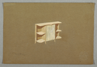 Drawing, Sideboard, signed Alfons