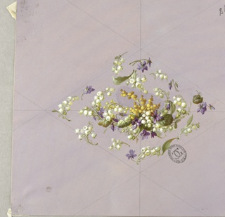 Horizontally-oriented diamond shape made of clusters of flowers and foliage at center of page. Cluster of purple, yellow, and white flowers and foliage at center of diamond, surrounded by purple and white flowers and foliage. Guidelines in graphite are visible on the page with the diamond bisected horizontally and vertically. On light lavender ground.