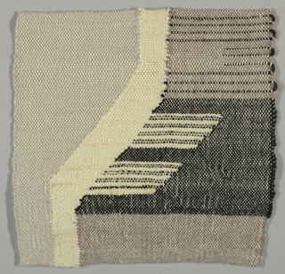 "Woven sample of sylized houses in white, black and grey for larger hanging ""Houses on a Street."""