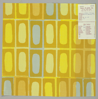 Printed sample with a grid of rectangles, each containing an elongated oval. In pale blue, yellow and mustard.