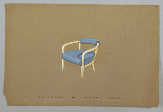 Drawing of an armchair facing left.  Frame made of a light colored wood and an open back.  A speckle patterned blue bottom cushion as well as a narrow cushion for the chair back.