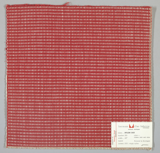 "Plain weave in red and white with every third weft doubled. Warp contains supplementary binding warps. White warp yarns create ""dot"" effect. Number 353."
