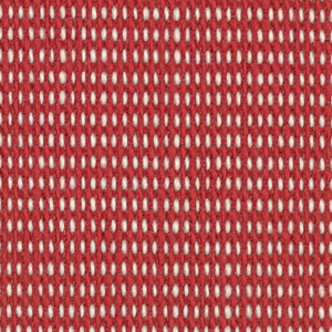 """Plain weave in red and white with every third weft doubled. Warp contains supplementary binding warps. White warp yarns create """"dot"""" effect. Number 353."""