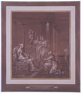 Psyche kneeling at right offers a cup to Venus who is sitting enthroned on the left with doves in her lap.  Three unidentified maidens look on in the center of the composition.  Neoclassical architectural setting.