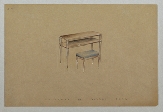 Drawing, 4. Vanity table and stool