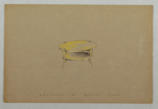 Drawing, Round side table with bot