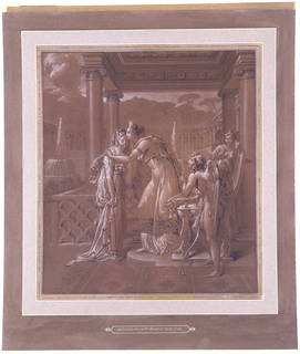 Venus and Psyche embracing at center of composition. Cupid leaning on Venus' throne looks on at right foreground.  Three unidentified maidens in right background.  Neoclassical architectural setting includes pavilion with Ionic columns and arcade with Doric columns.