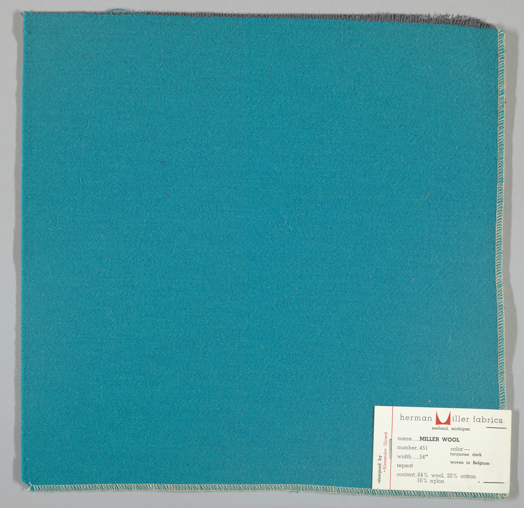Weft-faced twill weave in turquoise. Number 451.