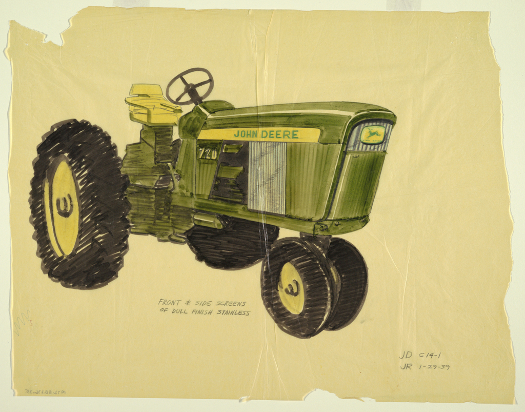Detailed drawing of John Deere tractor with view of front and side screens.