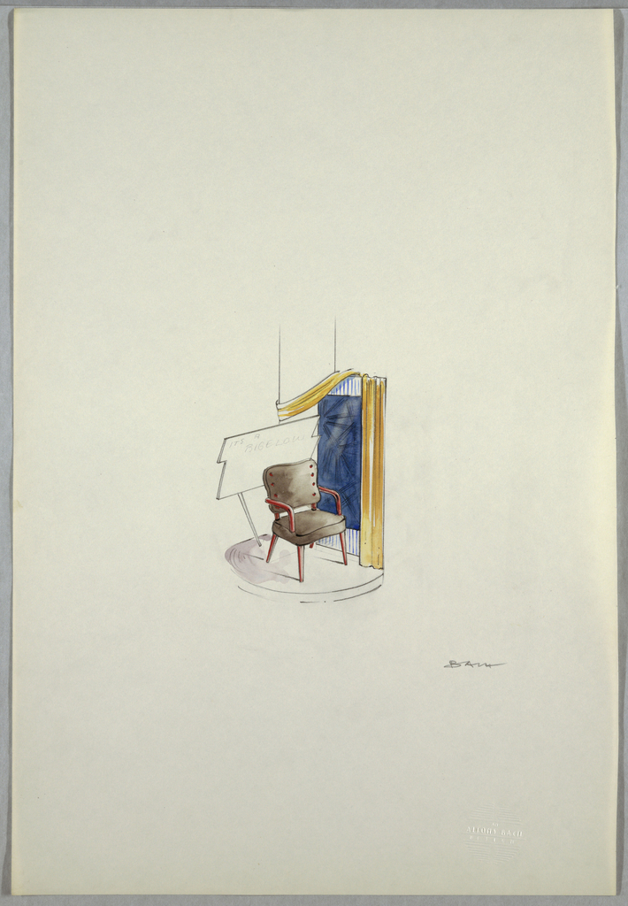 Drawing, Chair display with sign e | Objects | Collection of