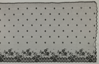 Bonnet veil with flowering sprays along the bottom border. The area above is sprinkled with conventionalized flowers. Three sides are scalloped and the fourth is fitted with a drawstring.