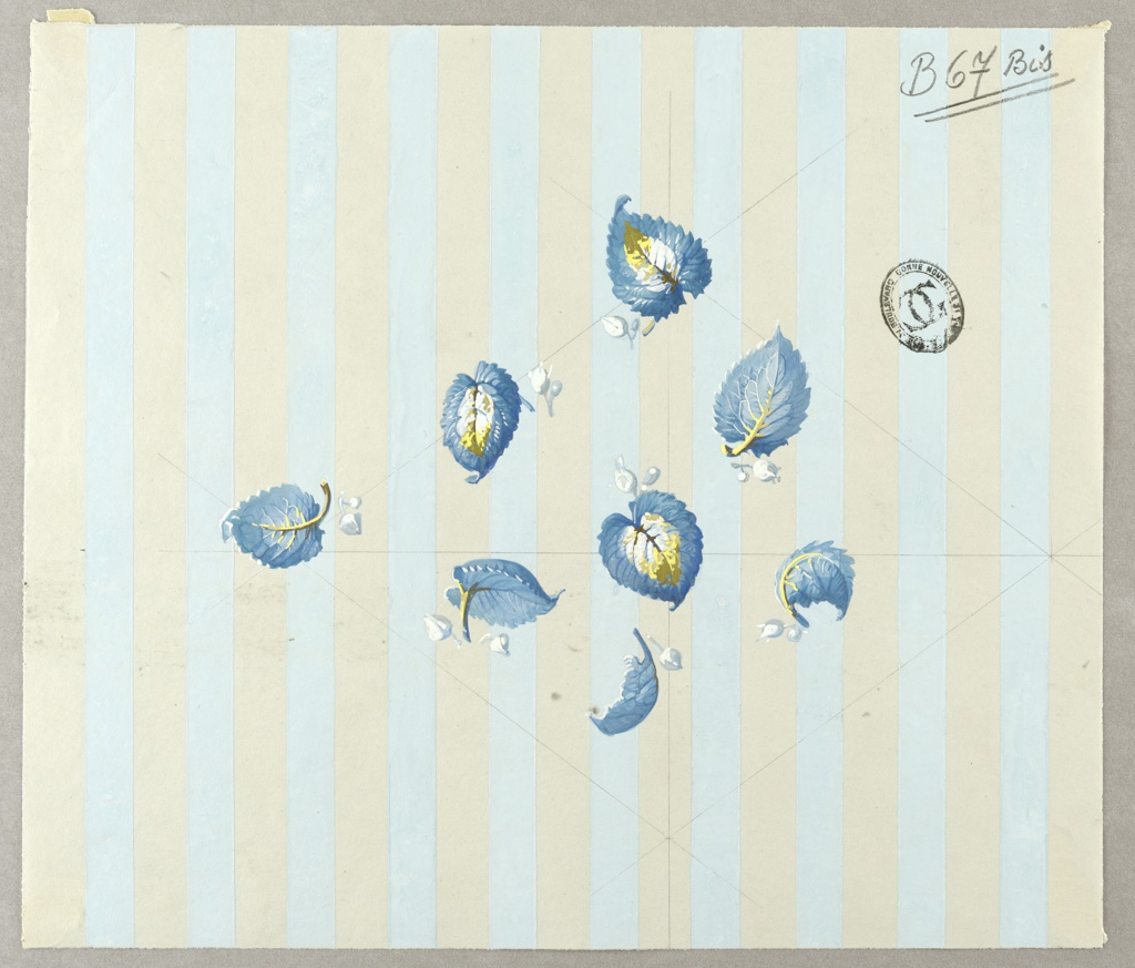 Guidelines in graphite are visible on the page with the diamond bisected horizontally and vertically. On light blue and white vertically striped ground. Blue leaves in center diamond with yellow stems and centers, all facing different directions. Each leaf has two smaller light blue leaves at its base.