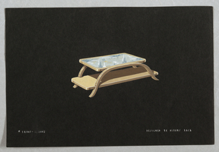 Drawing of a wooden rectangular coffee table with two shelves.  The top shelf is a glass tip within a wooden frame and is a smaller dimension than the one below .