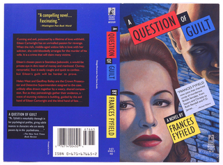 "Illustrated depiction of a woman's face at left and man's face at upper right, with cobblestone road in background. Text presented in grid-like arrangement. Above, in black on white and red/blue on black: A QUESTION OF GUILT; lower right, in black on white: ""FRANCES FYEFELD NOW JOINS THAT CHARMED CIRCLE of murderous British females, from Sayers and Christie to Ruth Rendell and P.D. James..."" Michael Milano; in white on black: A NOVEL BY; in black on yellow; FRANCES FYFIELD."