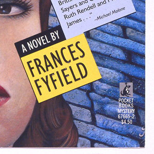 """Illustrated depiction of a woman's face at left and man's face at upper right, with cobblestone road in background. Text presented in grid-like arrangement. Above, in black on white and red/blue on black: A QUESTION OF GUILT; lower right, in black on white: """"FRANCES FYEFELD NOW JOINS THAT CHARMED CIRCLE of murderous British females, from Sayers and Christie to Ruth Rendell and P.D. James..."""" Michael Milano; in white on black: A NOVEL BY; in black on yellow; FRANCES FYFIELD."""