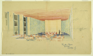 View of an even hall with several tables and chairs; two figures. Some notations.