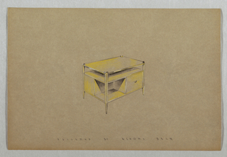 Drawing, Side table with shelves a
