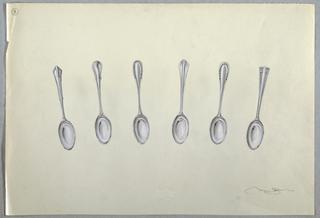Drawing, Six teaspoons