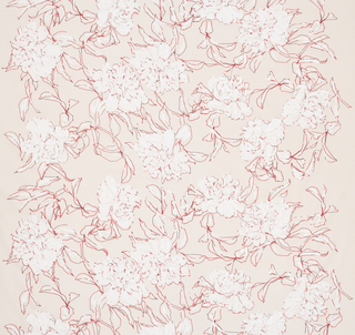 Length of off-white cotton canvas screen printed with loosely-drawn peonies, outlined in red and highlighted with white pigment.