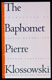 Vertical orange stripe along left side, with text in white: MARSILIO. Text above, printed in purple in upper half: The Baphomet; below, in green: Pierre Klossowski. Smaller text interwoven between title and author, in purple: TRANSLATED BY/SOPHIE HAWKS AND/STEVEN SARTARELLI/FOREWARD BY MICHEL FOUCAULT.
