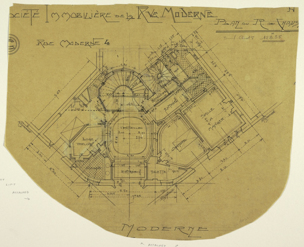 Design of interior of the Rez de Chaussee. Drawing details layout of rooms and their function. Scale noted throughout drawing.
